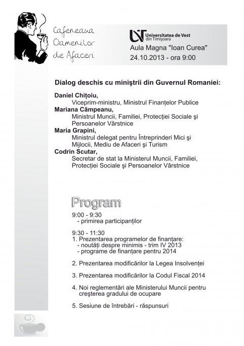 Cafeneaua Oamenilor de Afaceri - Dialog deschis cu ministrii din guvernul Romaniei