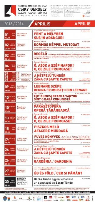Aprilie aduce o noua premiera si spectacole variate la Teatrul Maghiar de Stat Csiky Gergely