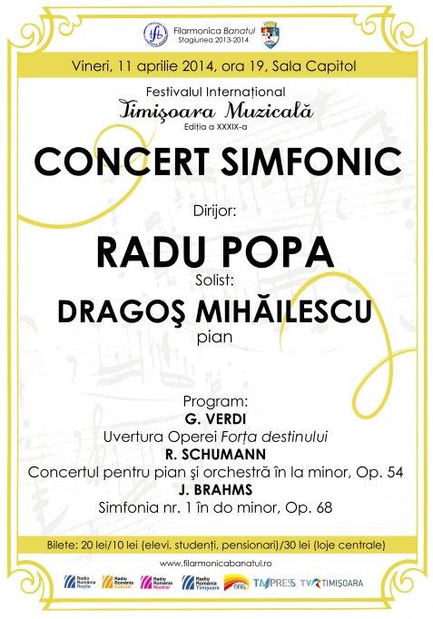Concert simfonic sub bagheta maestrului Radu Popa, acompaniat la pian de Dragos Mihailescu