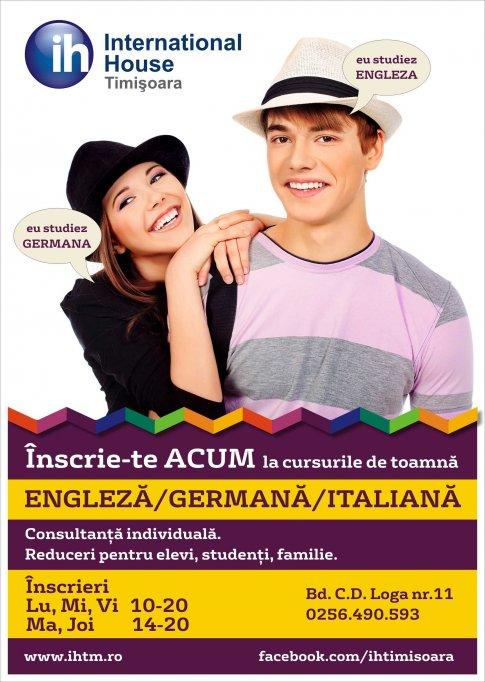 Invata engleza, germana, italiana si spaniola la IH Timisoara