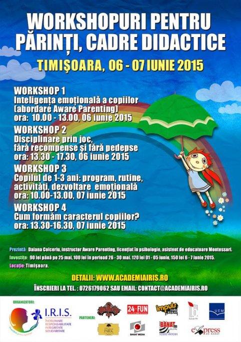 Workshop-uri in Timisoara pentru parinti, bunici, cadre didactice