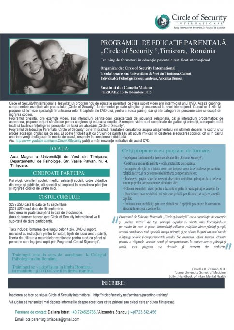 "Programul de Educaţie Parentală ""Circle of Security"""