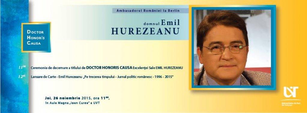 Decernare DHC și lansare de carte - dl. Emil Hurezeanu