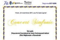 Concert simfonic sub egida Simpozionului International de Istorie Contemporana dedicat Zilei Nationale a Romaniei
