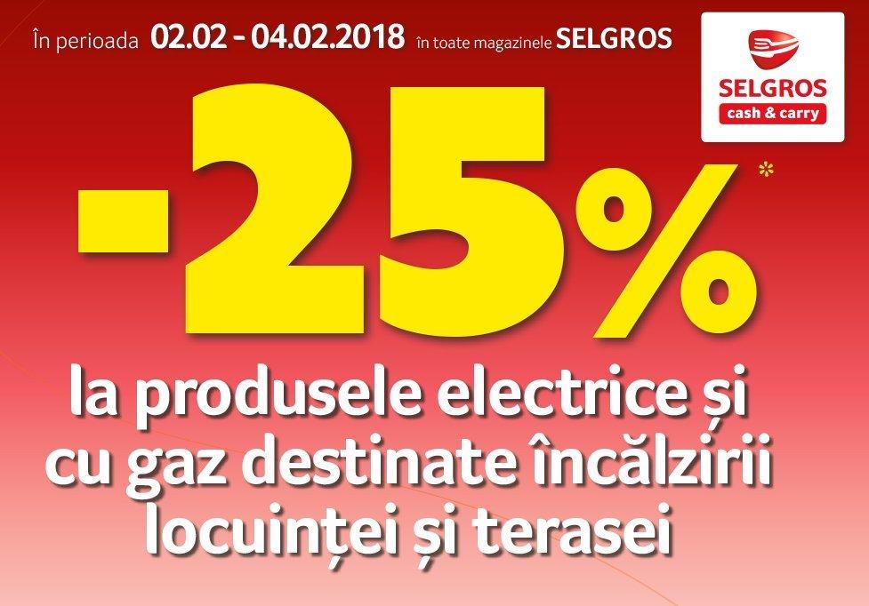 Reduceri de 25% la produse electrice si cu gaz destinate incalzirii locuintei si terasei