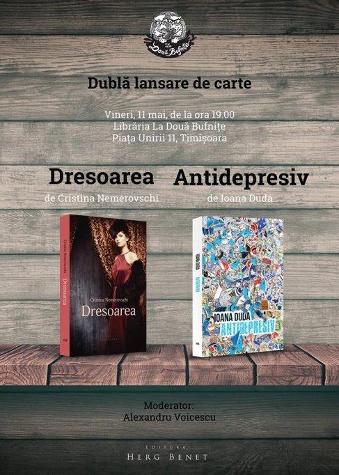 Dubla lansare de carte: Dresoarea si Antidepresiv