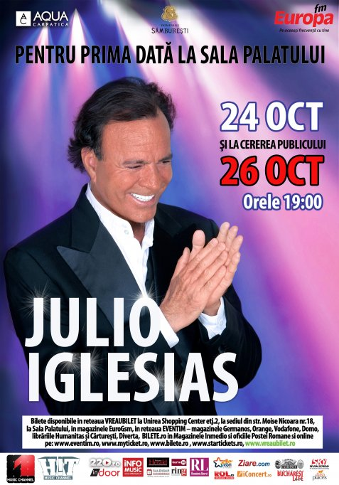 Julio Iglesias concerteaza pentru prima data intr-o sala de spectacol din Romania