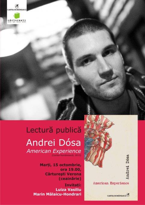 Lectura publica la Carturesti Verona: Andrei Dosa, American Experience