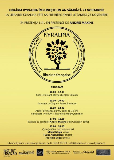 Libraria Franceza Kyralina implineste un an sambata, 23 noiembrie !