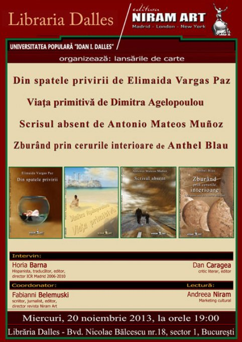 Editura madrilena Niram Art prezinta patru scriitori spanioli la Bucuresti
