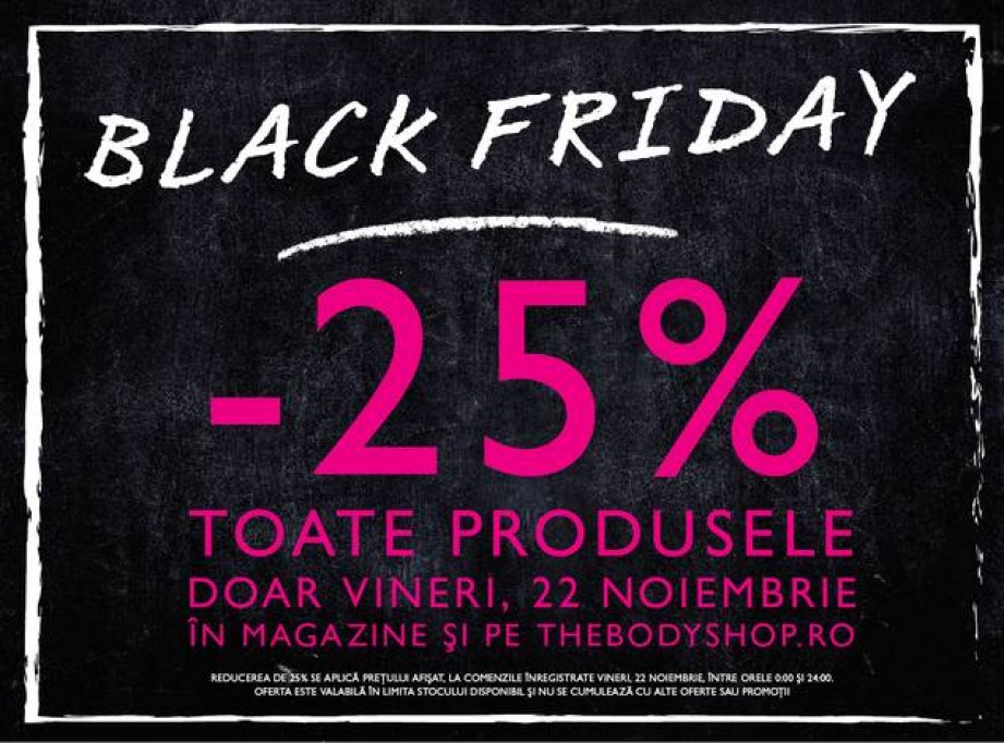 Reducere 25% de Black Friday la The Body Shop