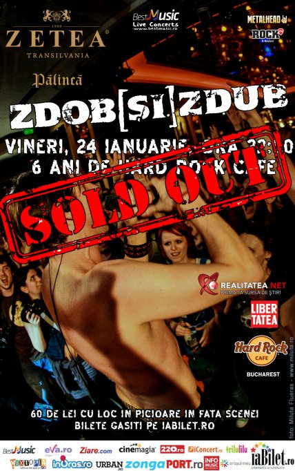 Concertul ZDOB si ZDUB din Hard Rock Cafe este sold out
