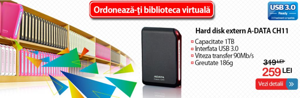 Hard disk extern capacitate 1TB, USB 3.0 - numai 259 lei