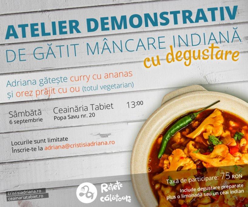 Atelier demonstrativ de gatit mancare indiana cu degustare