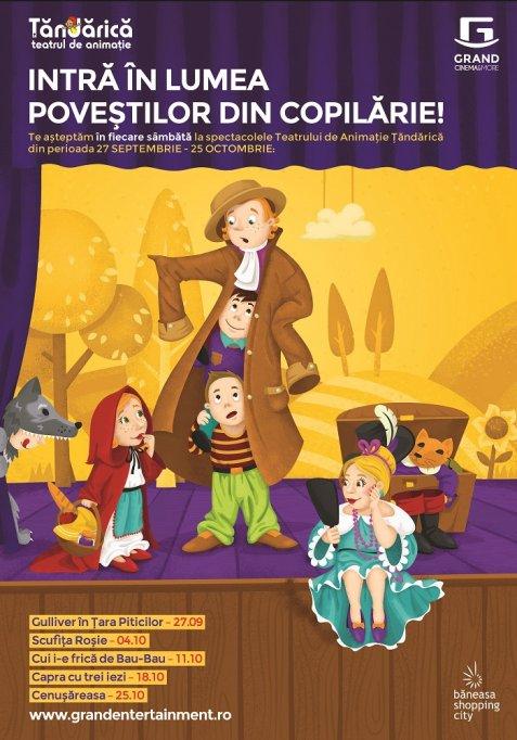 """""""Gulliver in Tara Piticilor"""" si """"Scufita Rosie"""" sunt primele spectacole pentru copii din noua stagiune culturala Grand Cinema & More"""