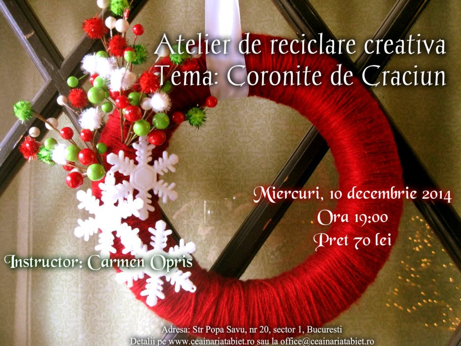 Atelier de reciclare creativa. Tema: Coronite de Craciun