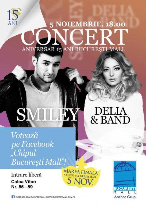 Smiley si Delia vor concerta la finala concursului Chipul Bucuresti Mall