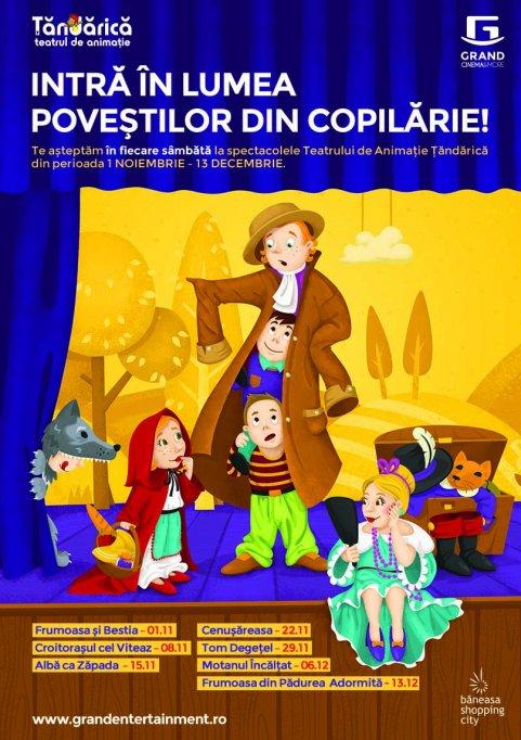 """Teatrului de Animatie Tandarica aduce pe scena Grand Cinema & More spectacolele """"Motanul incaltat"""" si """"Frumoasa din padurea adormita"""""""
