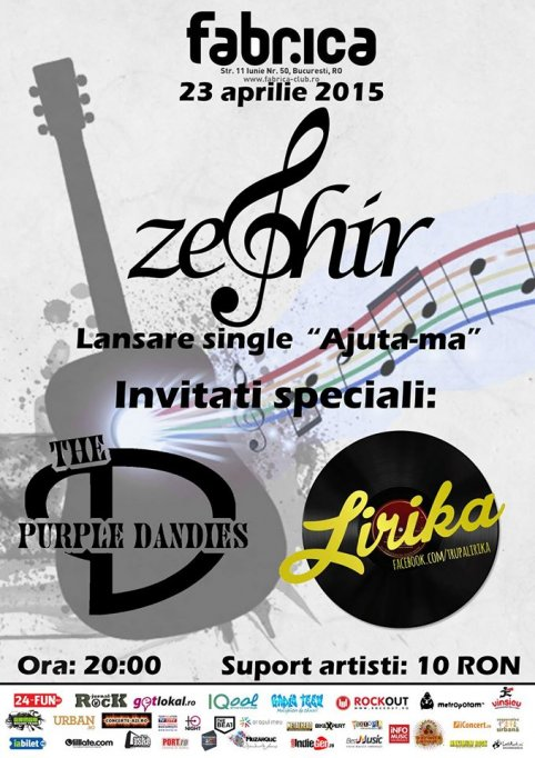 "Zephir/ The Purple Dandies/ Lirika@Lansare single Zephir ""Ajută-mă"""