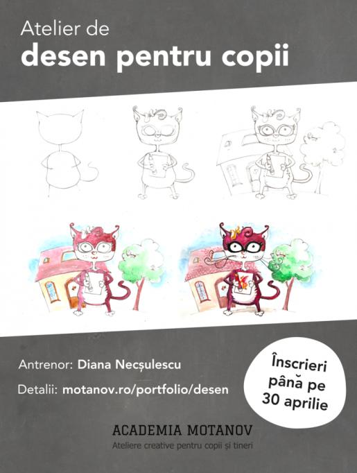 Atelier de desen pentru copii la Academia Motanov