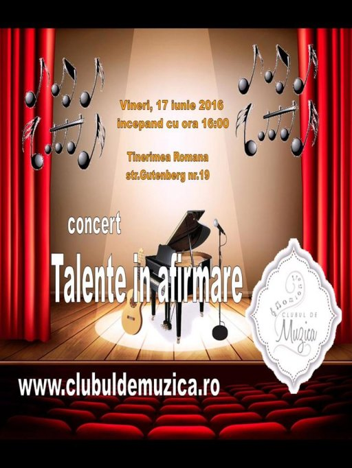 """Al 5-lea concert ,,Talente in afirmare"""" marca Clubul de Muzica.ro"""