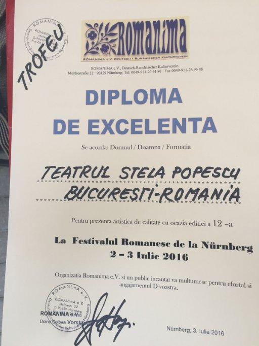 """TEATRUL STELA POPESCU a obtinut Trofeul Festivalului """"Romanima - 2016"""" (Rumanien Sommerfest) din ermania"""