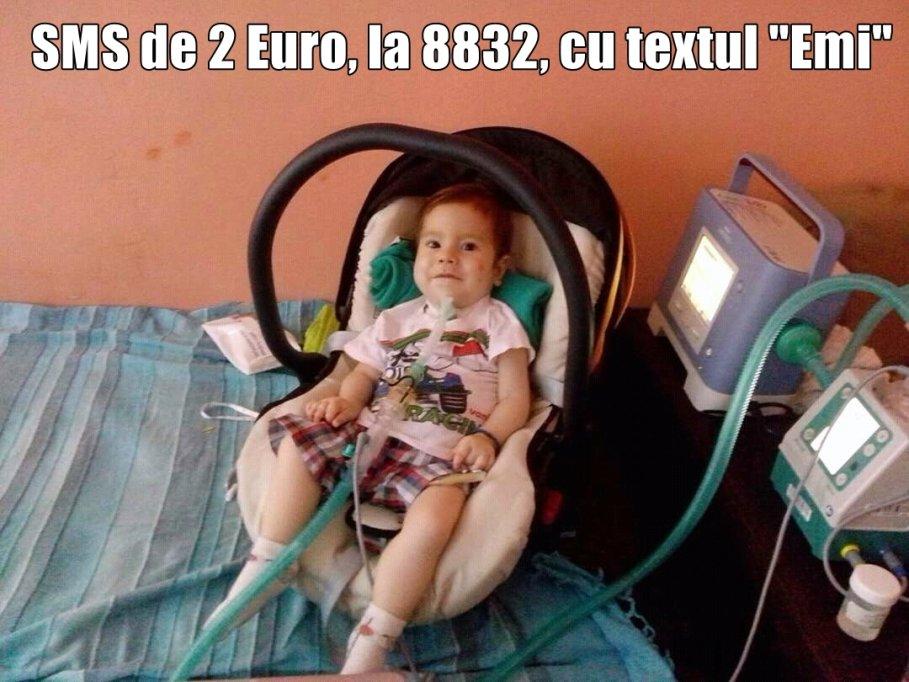 """Un simplu SMS de 2 Euro, la 8832, cu textul """"Emi"""" îi poate salva viaţa unui copil de 2 ani"""
