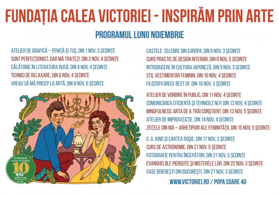 8 cursuri noi la Fundația Calea Victoriei în luna Noiembrie