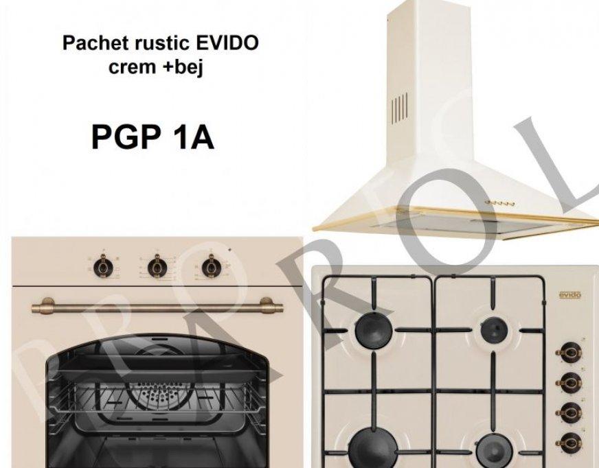 Pachet EVODO (hota, plita, cuptor) electrocasnice rustice crem + bej rustic