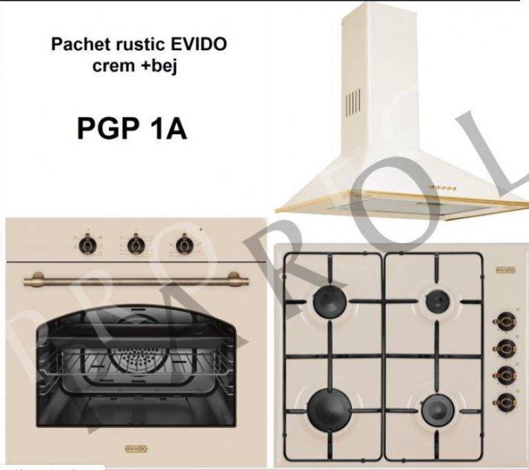 Pachet EVIDO + BLANCO (hota, plita, cuptor, chiuveta, baterie), crem + bej rustic
