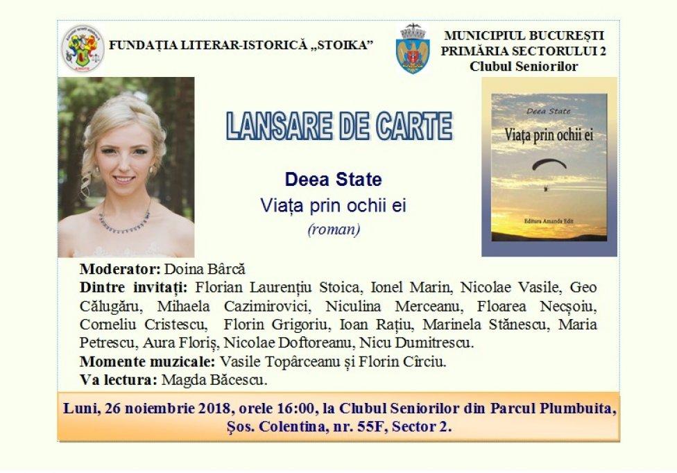 Lansare de carte: Viața prin ochii ei, de Deea State