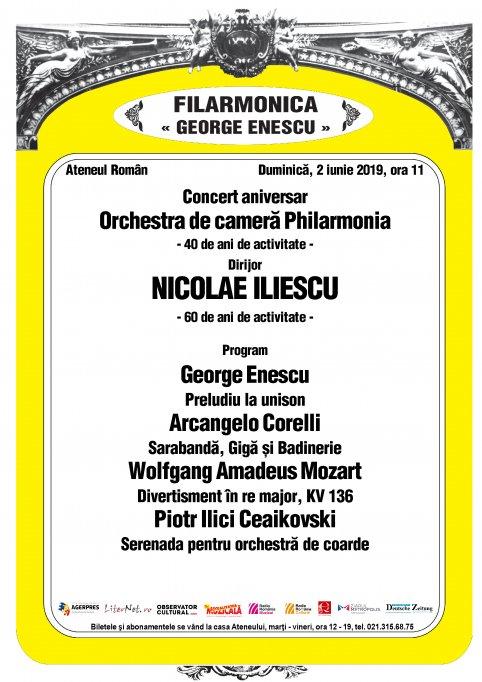 Concert aniversar al Orchestrei de cameră PHILARMONIA