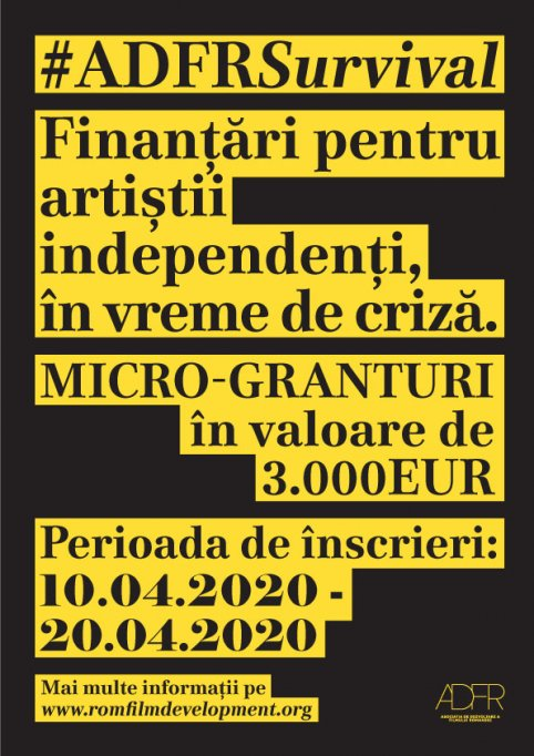 Micro-granturile #ADFRSurvival pentru artiștii independenți din industria cinematografică