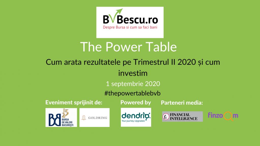 The Power Table - Cum arata rezultatele pe trimestrul II 2020 și cum investim