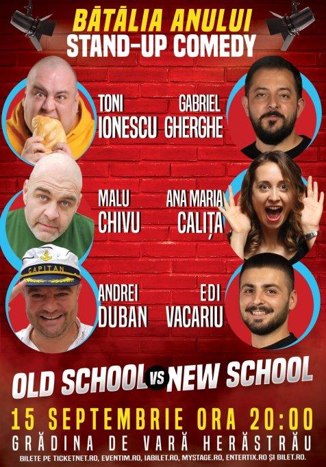 """Competiția Stand-up-ului românesc """"Old School vs New School"""" se desfășoară pe 15 septembrie, la Teatrul de Vară Herăstrău"""