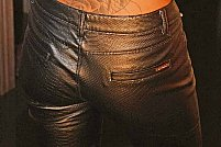 Pantaloni de piele cu talie înaltă
