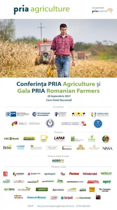 Eforturile și contribuția fermierilor români pentru agricultura noastră vor fi recunoscute în cadrul Galei PRIA Romanian Farmers în 28 septembrie 2017