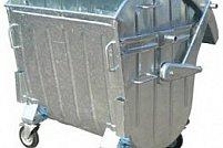 Container metalic 1100 l zincat la cald pentru gunoi